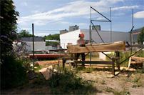 Anton Alvarez lånade en Solosåg för att slutföra sitt projektarbete med temat möbler av parkträd.